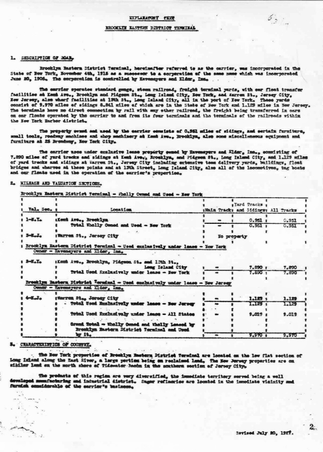 ICC Valuation Report of the Brooklyn Eastern District Terminal, 1927